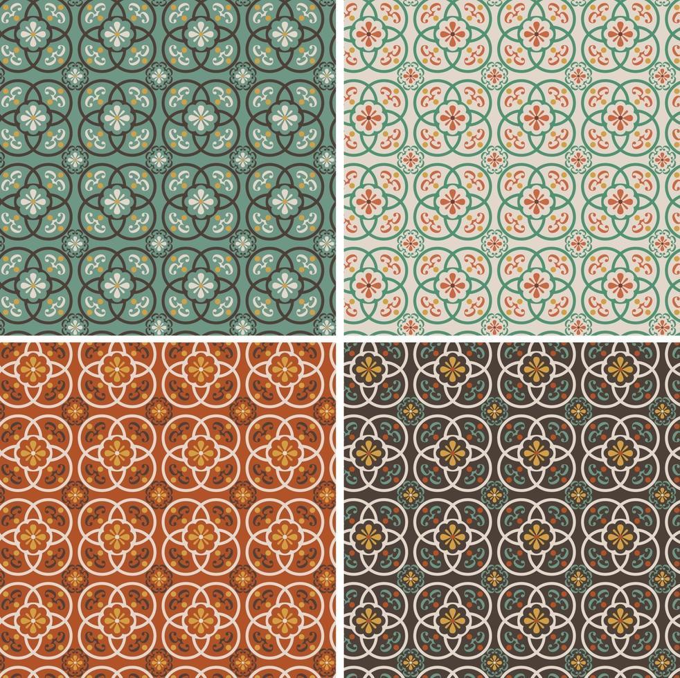 padrões de azulejos de vetor ornamentado sem costura