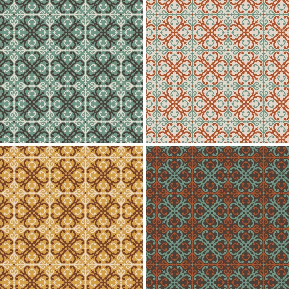 Padrões de azulejos decorativos geométricos decorativos ornamentados sem costura vetor