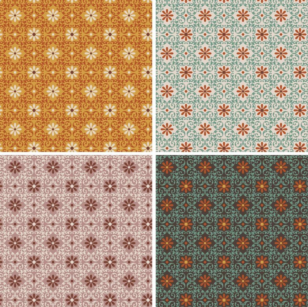 padrões de azulejos de vetores florais geométricos decorativos ornamentados sem costura