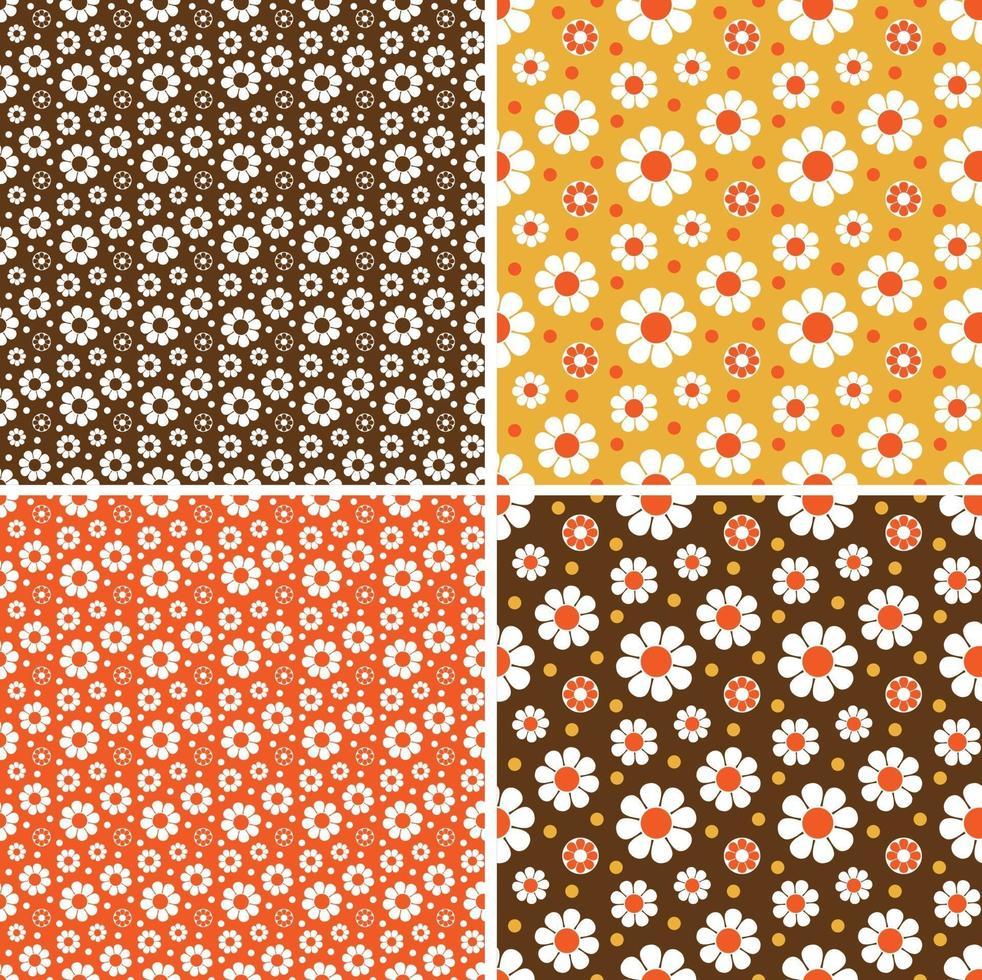 mod seamless margarida padrões de vetores laranja amarelo marrom