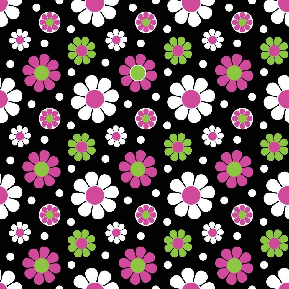 mod rosa verde preto sem costura margarida flor padrão vetorial vetor