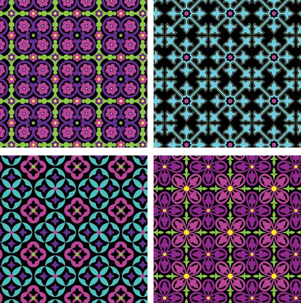 Néon azul rosa roxo ornamentado padrões de azulejos sem costura em fundos pretos vetor