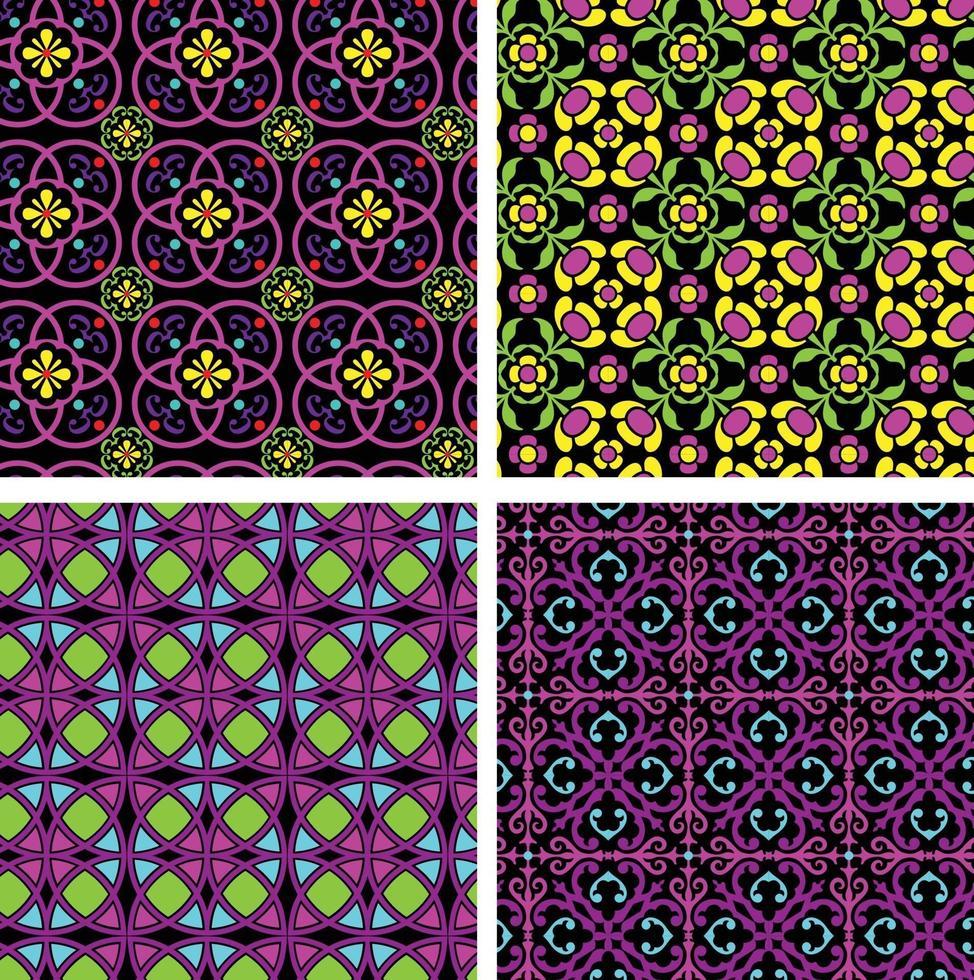 neon mod rnate padrões geométricos e florais sem costura em fundos pretos vetor