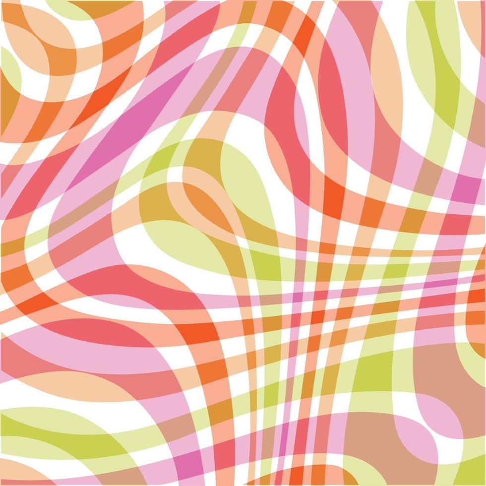 mod rosa laranja verde ondulado abstrato xadrez padrão de fundo vetor