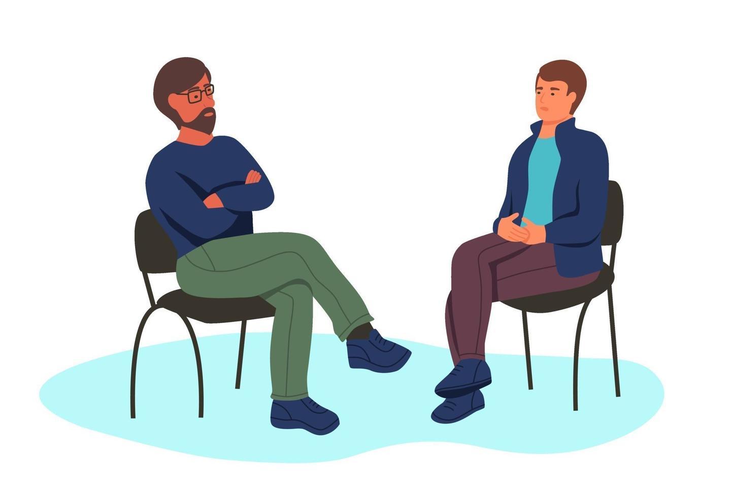 dois homens em cadeiras vetor