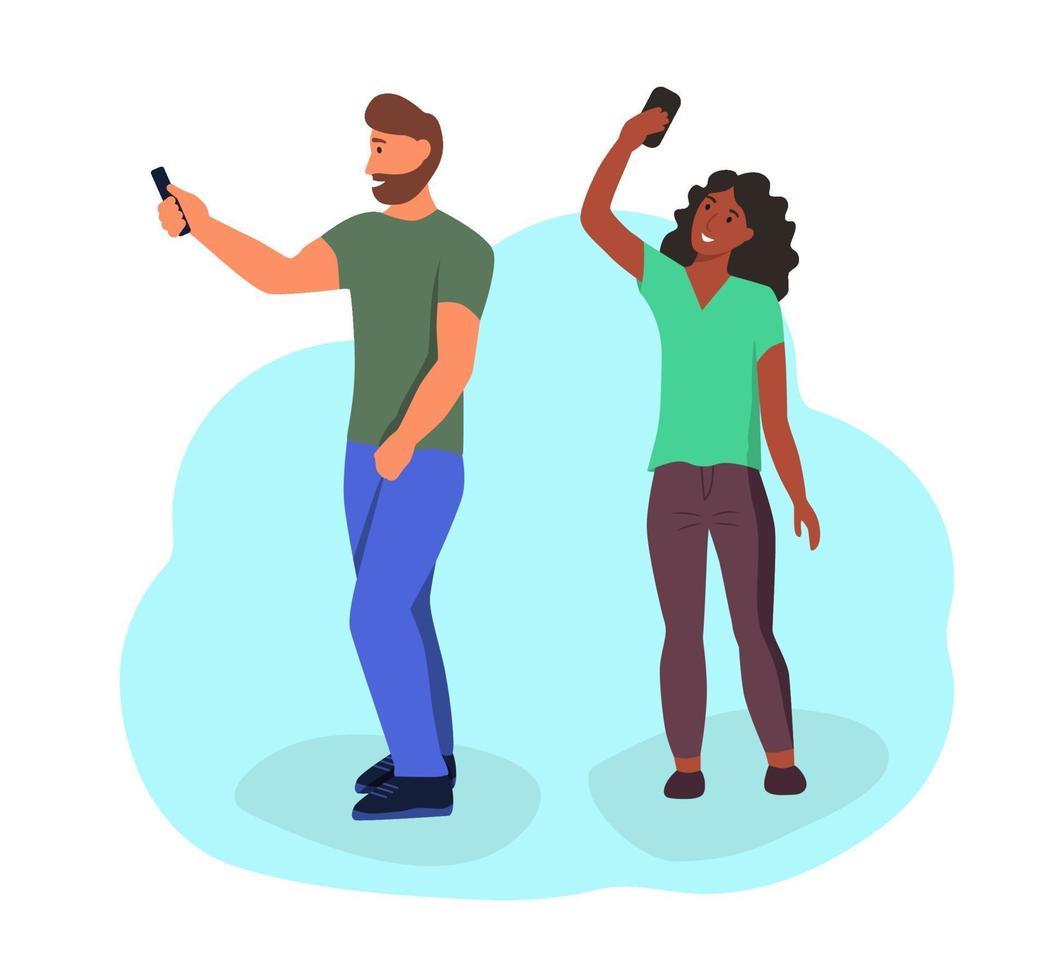 casal tira uma selfie vetor