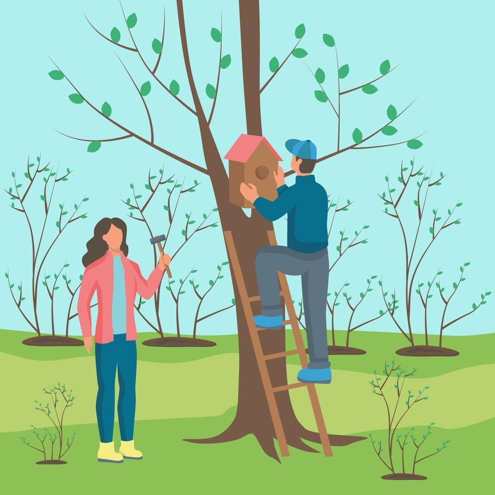 um jovem e uma mulher pendurando uma casa de passarinho em uma árvore vetor