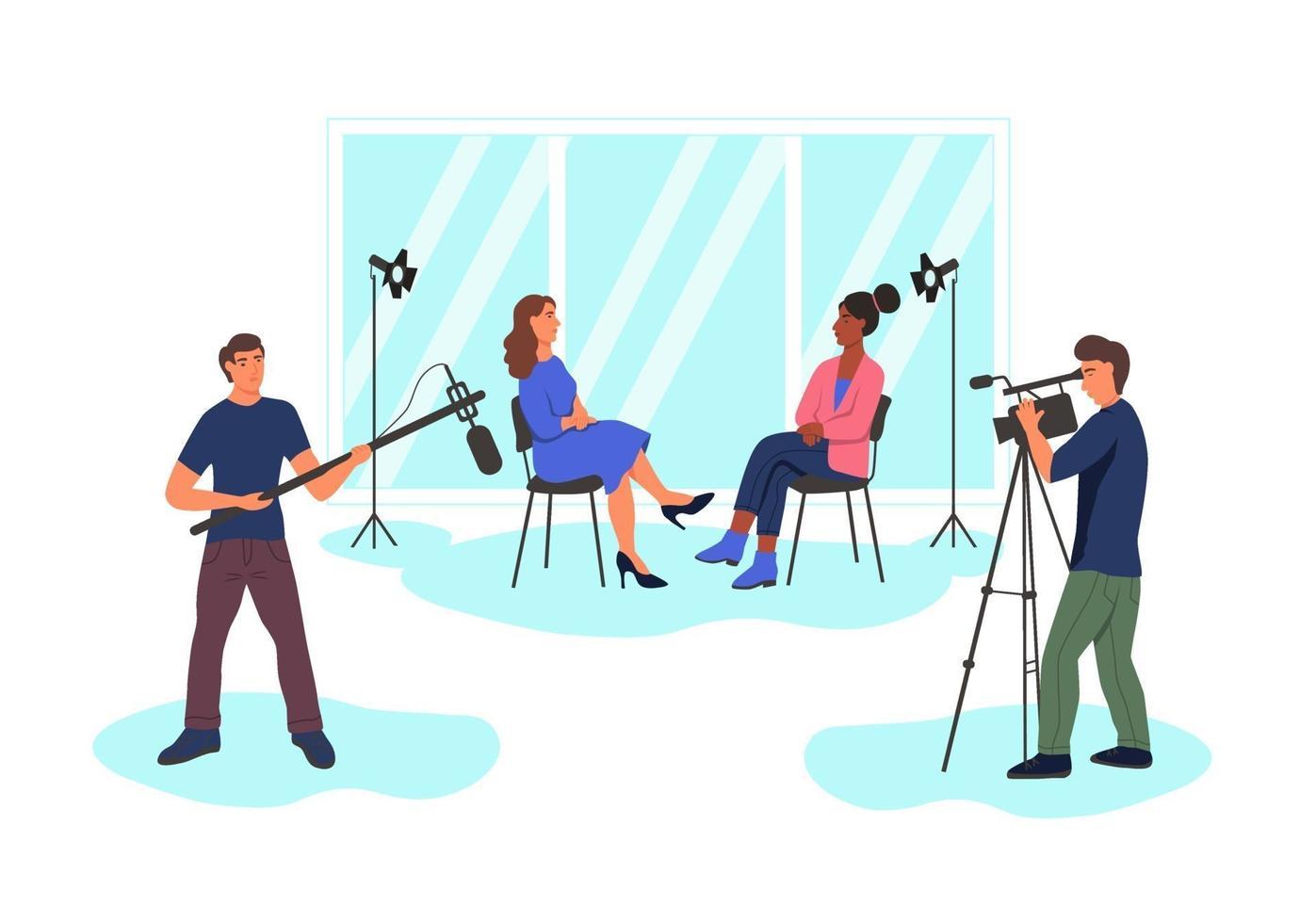 gravando uma entrevista jornalística no estúdio vetor