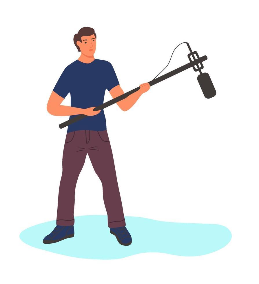um homem de corpo inteiro com um longo microfone vetor