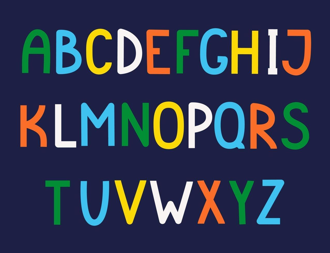alfabeto inglês fofo desenhado à mão. vetor