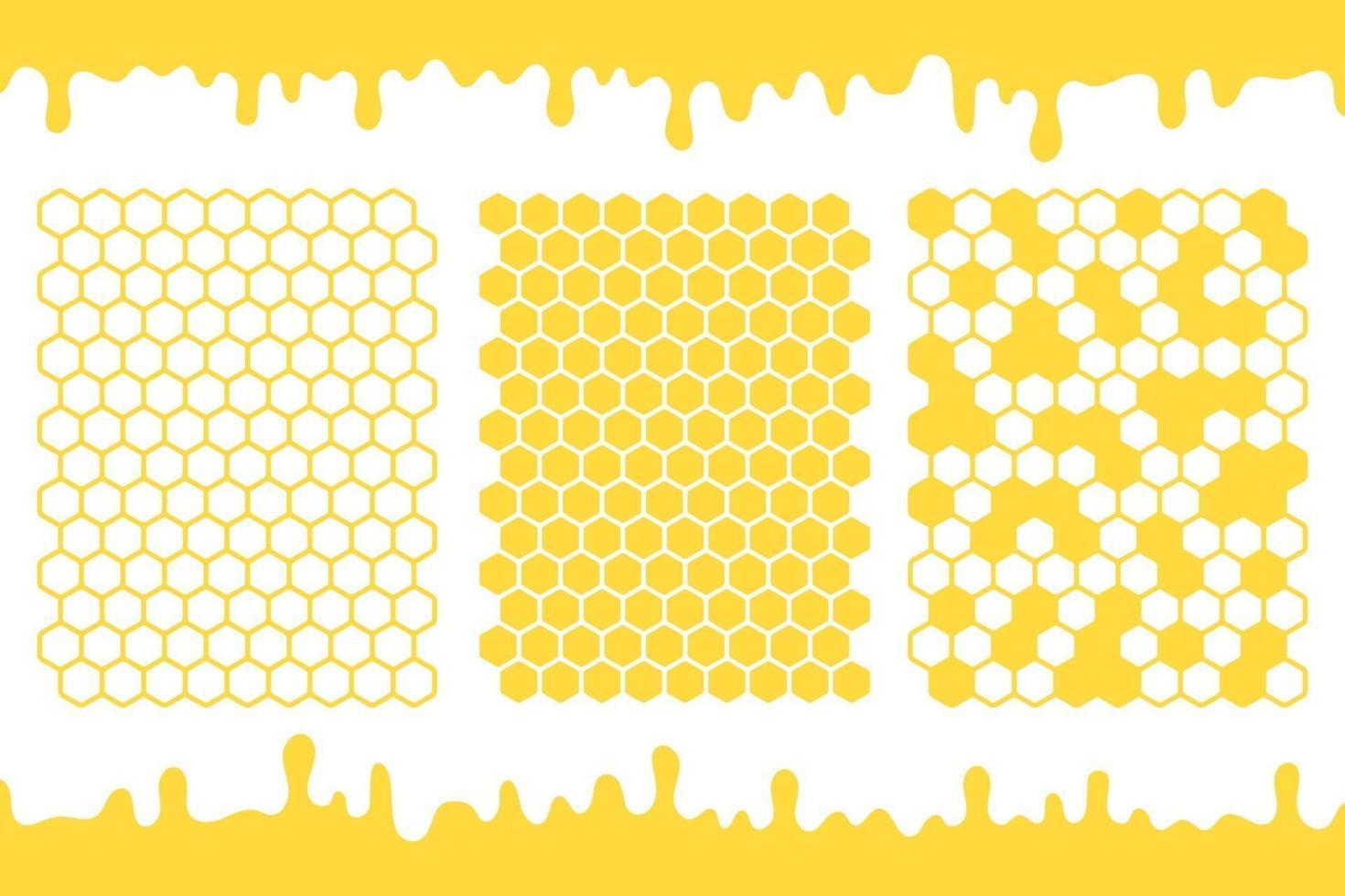 vetor de grade de favo de mel hexagonal amarelo com mel pingando no chão