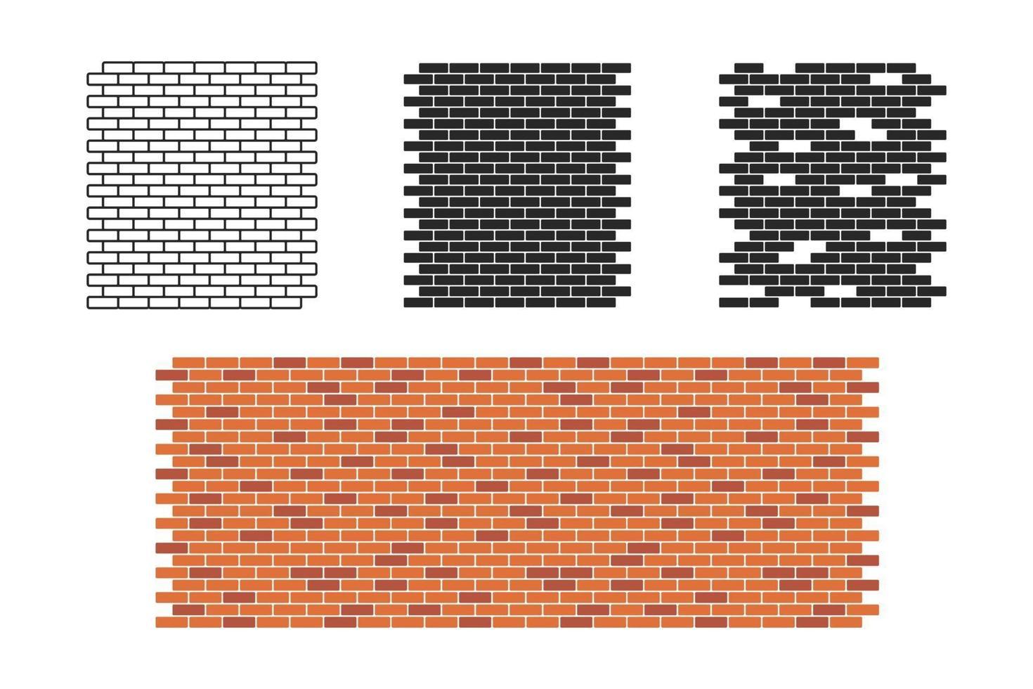 conjunto de padrão de parede de tijolos vetor