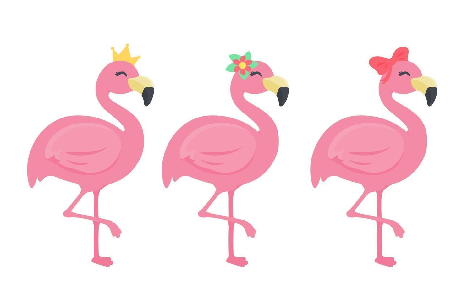 lindo conjunto de flamingo de verão vetor