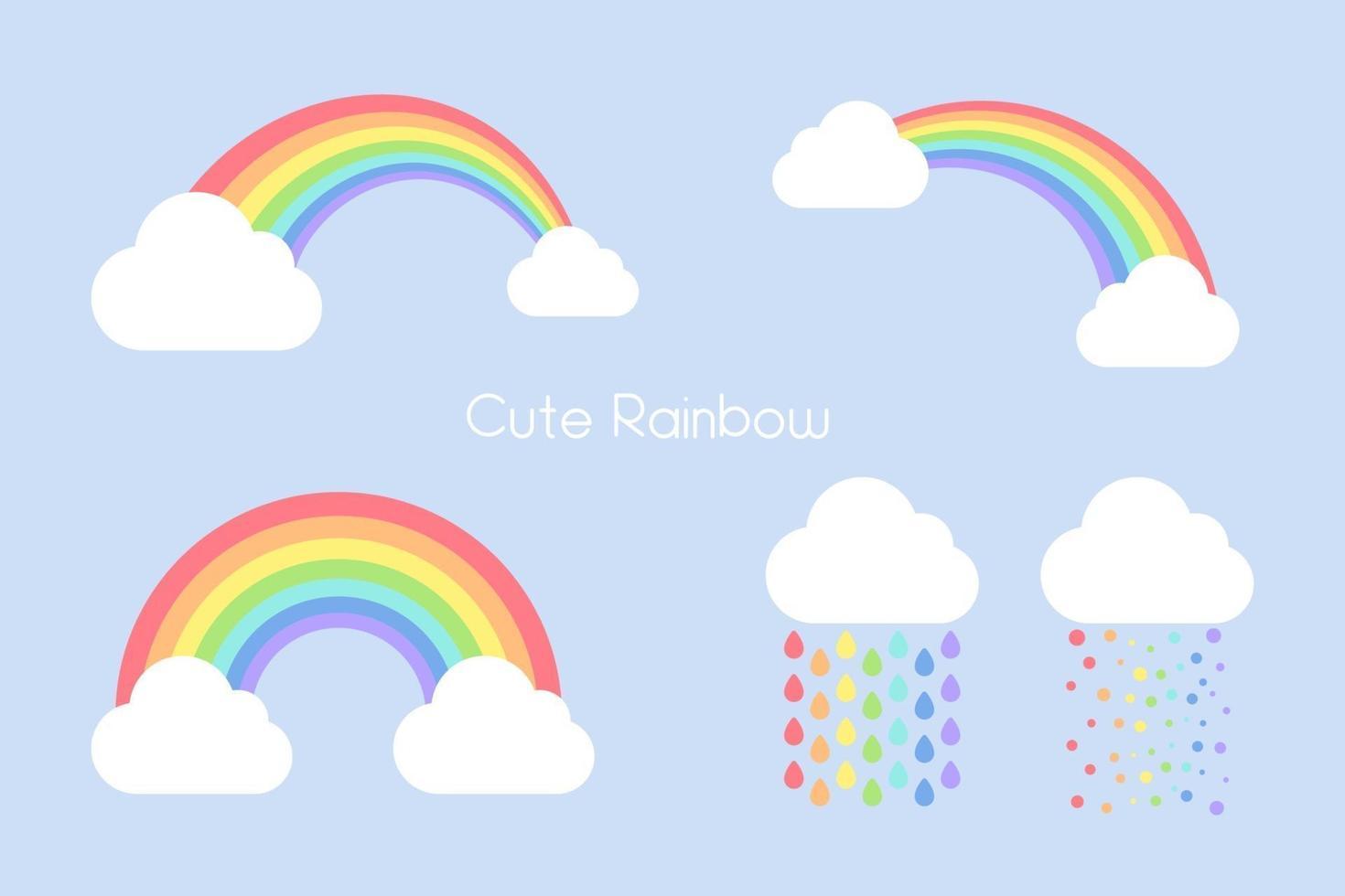 conjunto de arco-íris fofo vetor