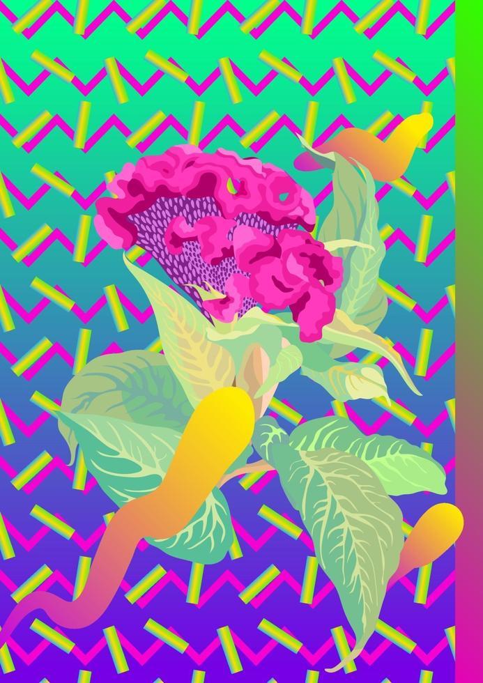 flor tropical e elemento gráfico dos anos 80. estilo retro moderno, fundo gráfico vetorial vetor