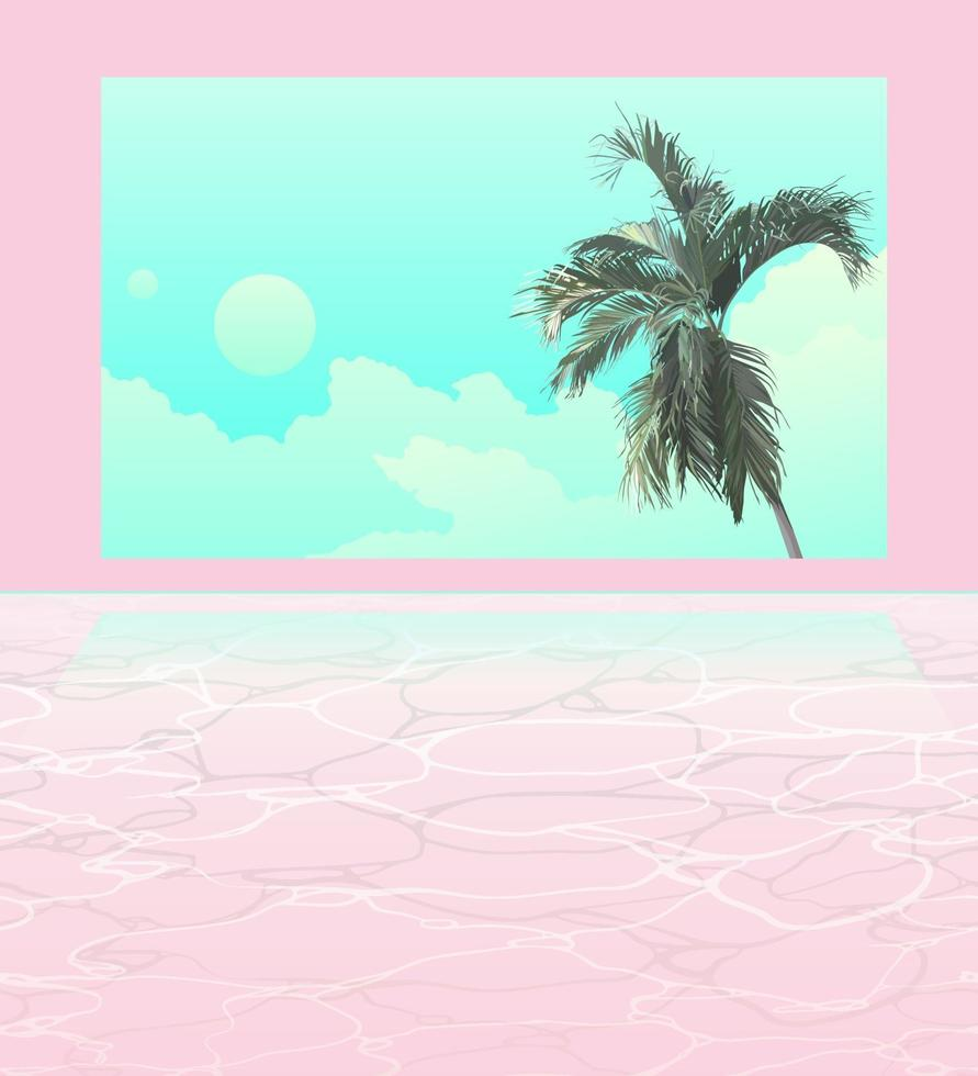 janela de palmeira espacial e piscina vetor