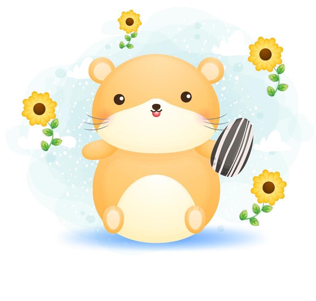 hamster doodle fofo segurando semente de girassol vetor premium de personagem de desenho animado