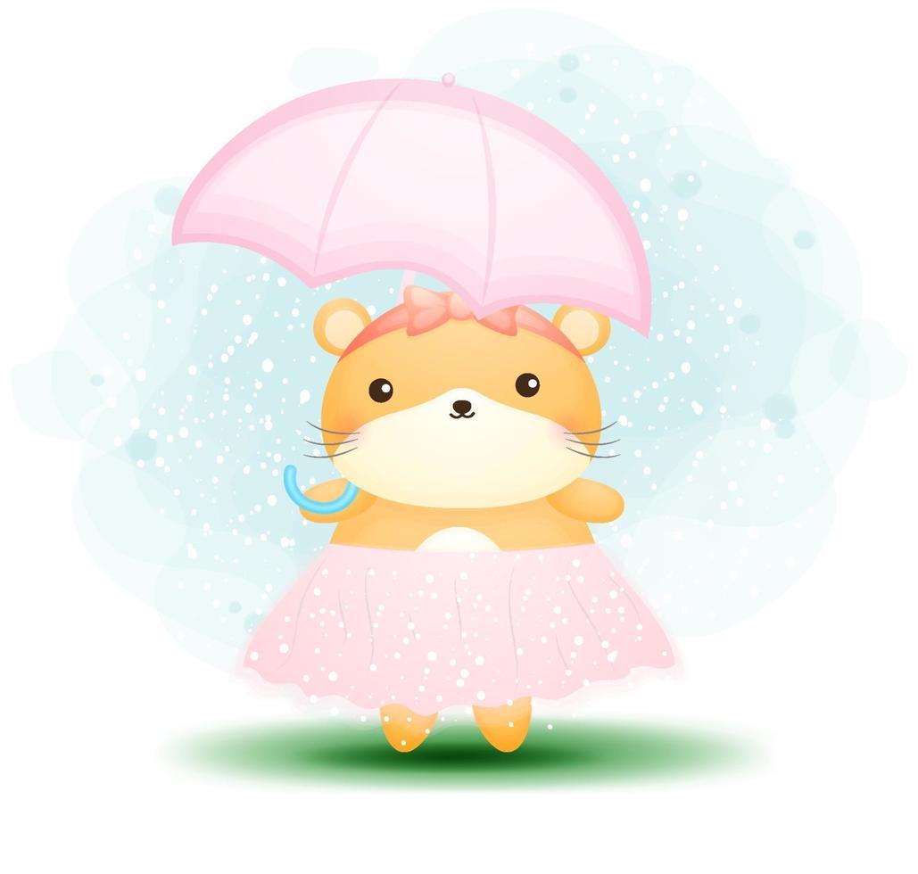 hamster fofo segurando guarda-chuva rosa personagem de desenho animado vetor premium