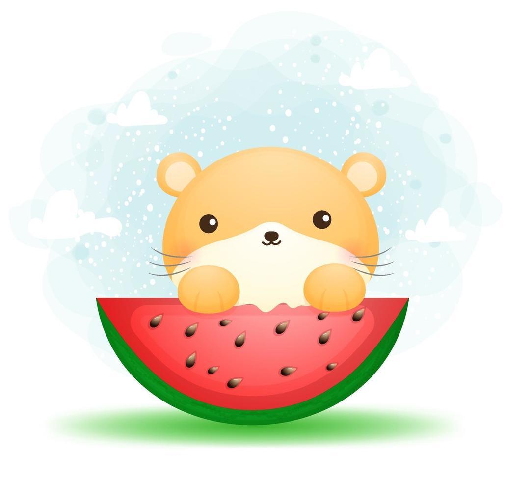 hamster fofo comendo melancia vetor premium de personagem de desenho animado