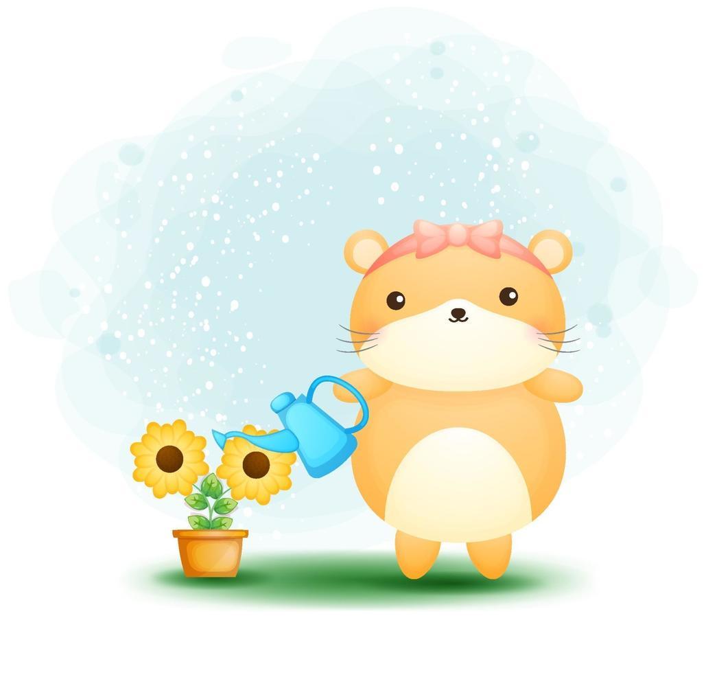 hamster doodle fofo regando a planta vetor premium
