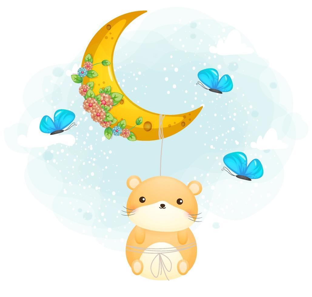 hamster doodle fofo pendurado na lua vetor premium de personagem de desenho animado