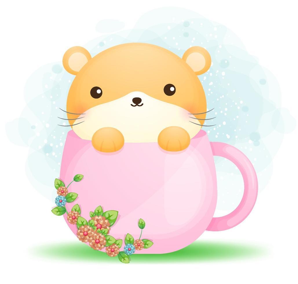 hamster doodle fofo em uma xícara de vetor premium de personagem de desenho animado