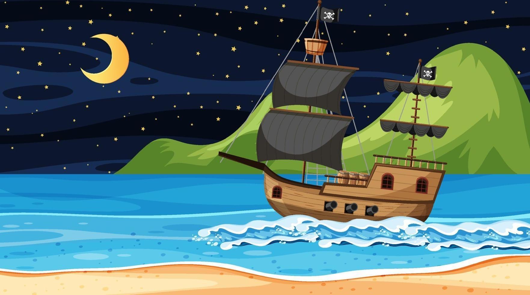 oceano com navio pirata na cena noturna em estilo cartoon vetor