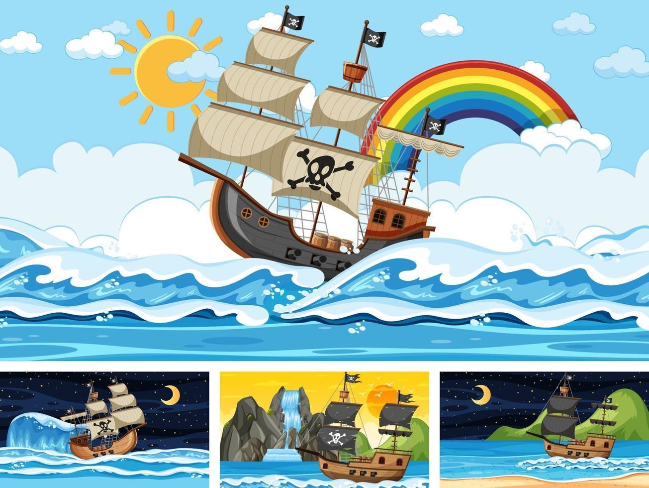 conjunto de oceano com navio pirata em diferentes momentos, cenas em estilo cartoon vetor