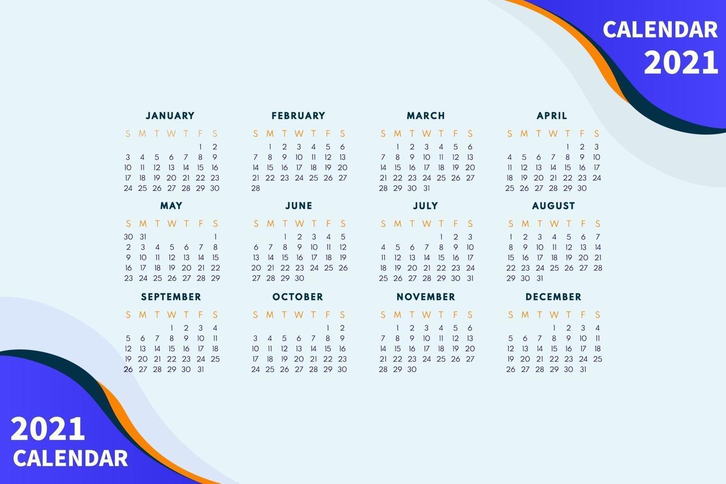 layout de calendário abstrato para modelo de design de calendário 2021. semana começa no domingo. design de calendário de página única 2021 vetor