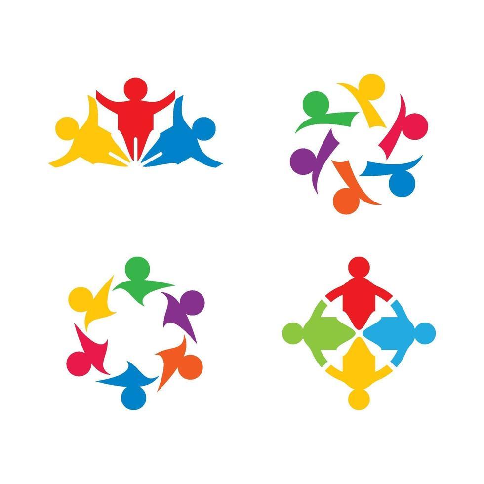 conjunto de imagens do logotipo do trabalho em equipe vetor