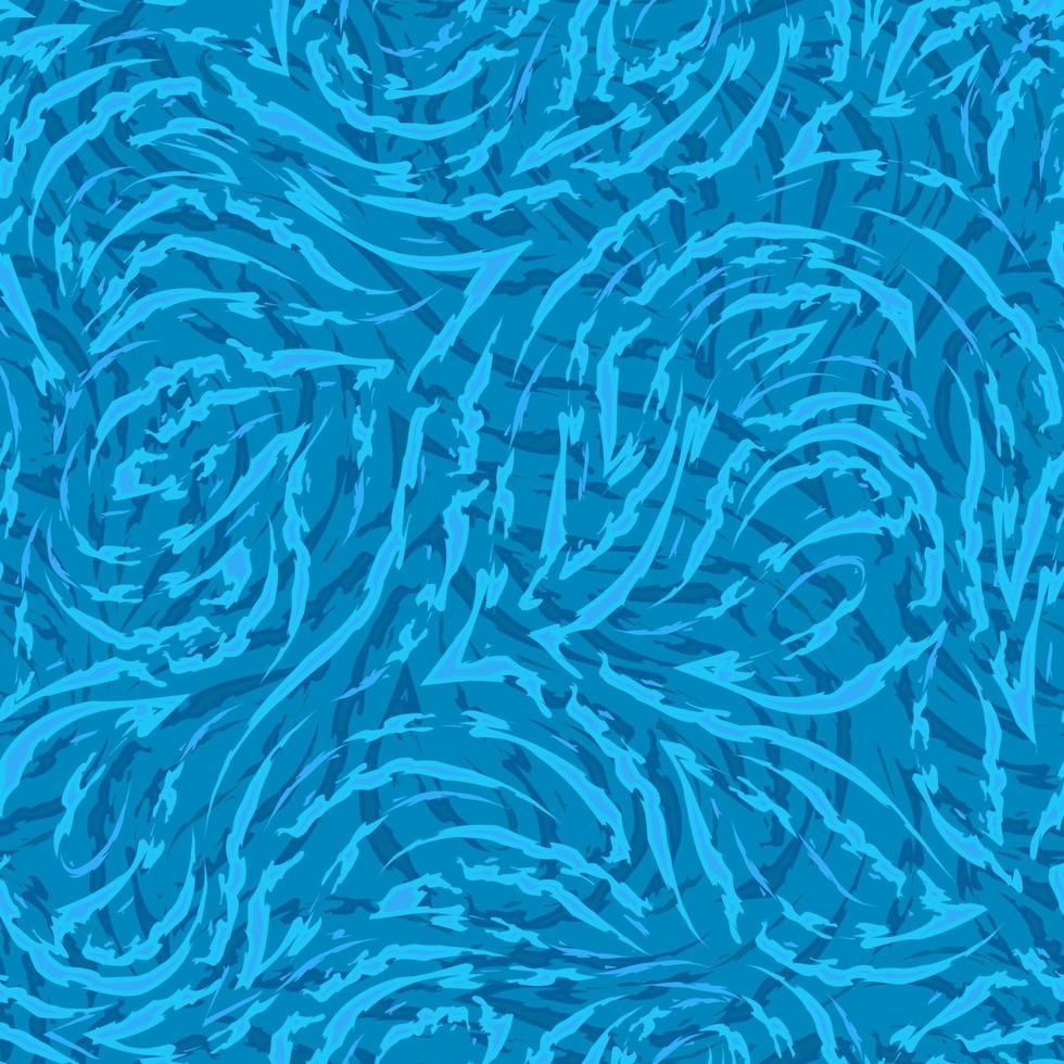 linhas fluidas azuis e cantos com bordas rasgadas em um padrão sem emenda de vetor de fundo do mar. textura abstrata ondulações na água, padrão de gelo.