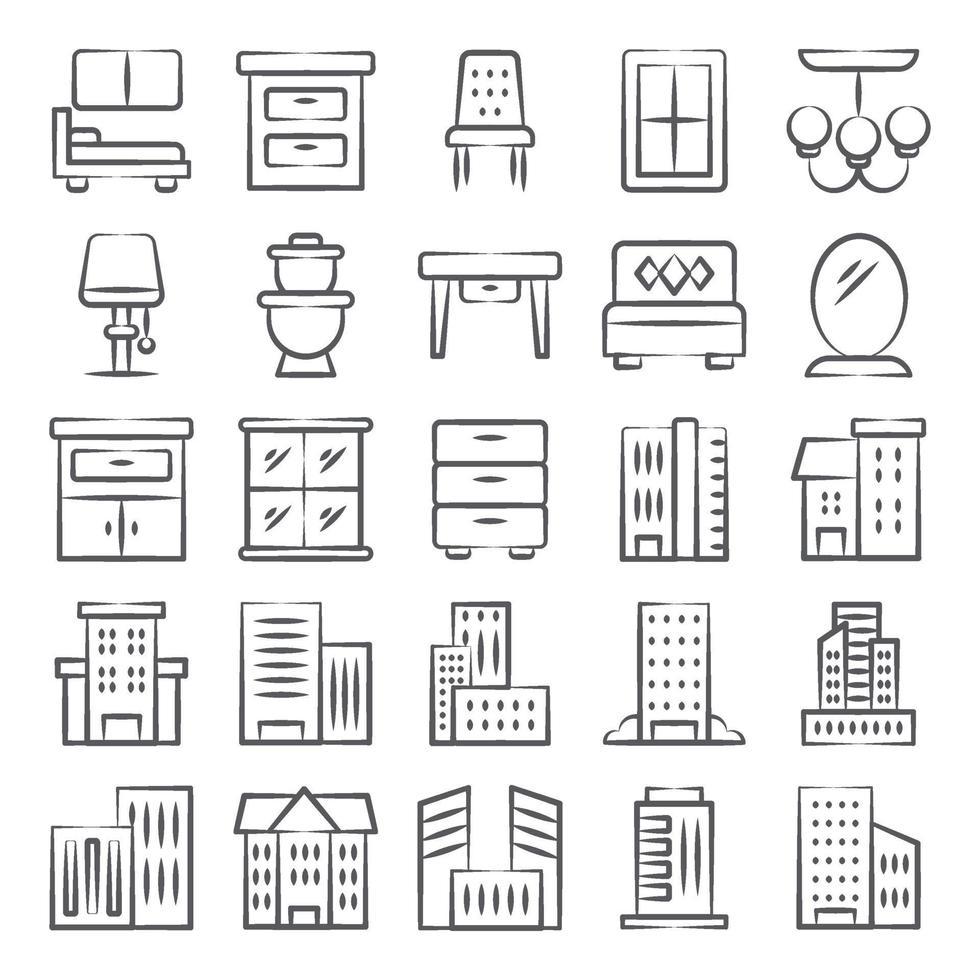 interiores decorativos de edifícios da cidade vetor
