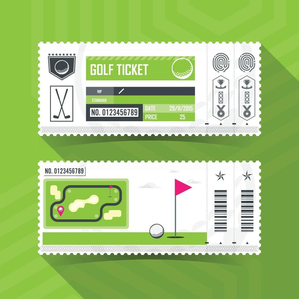 design de elemento moderno do cartão de bilhetes de golfe. ilustração vetorial vetor