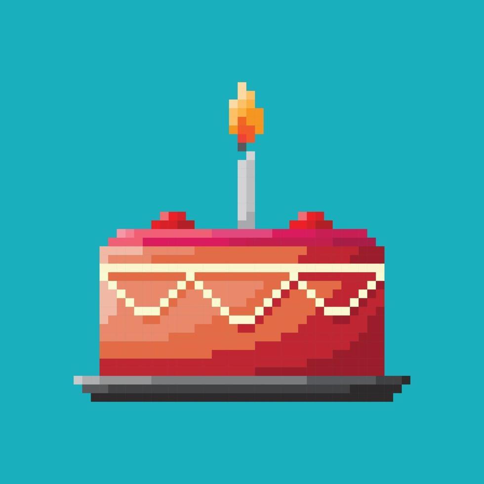 bolo de aniversário, conceito de pixel. ilustração vetorial vetor