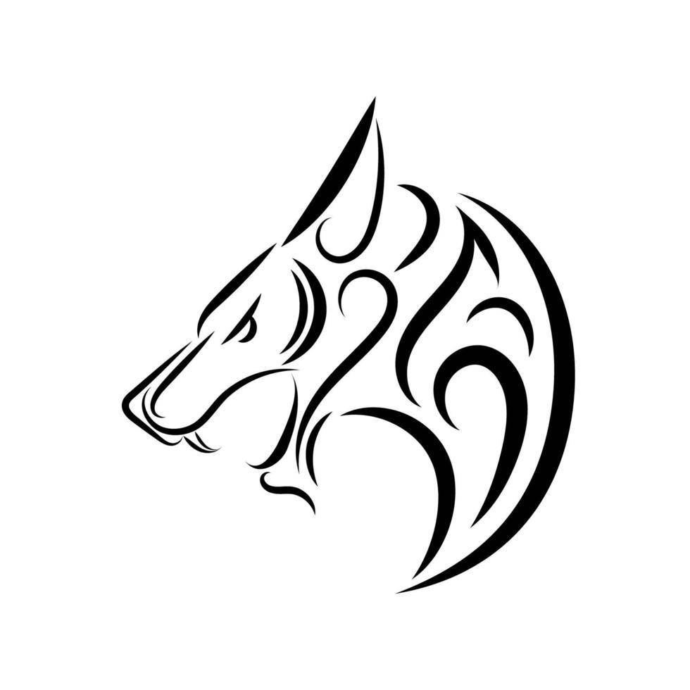 arte de linha preto e branco da cabeça de lobo. vetor