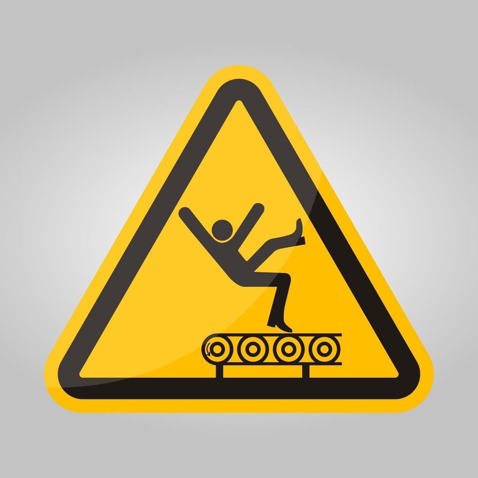 perigo de queda do sinal do símbolo do transportador, ilustração vetorial, isolado na etiqueta de fundo branco .eps10 vetor
