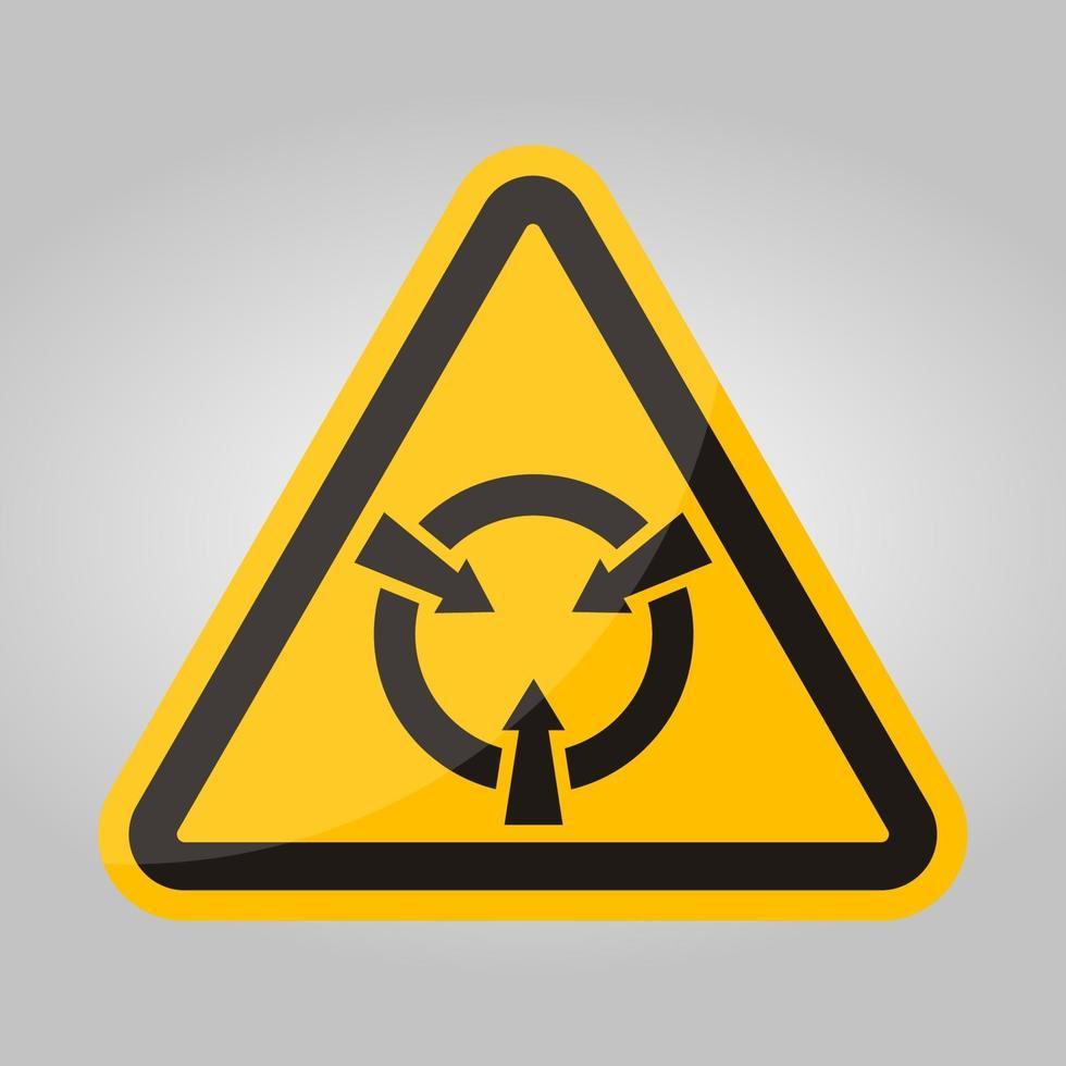 sinal de símbolo de dispositivo sensível a eletrostática isolado em fundo branco, ilustração vetorial eps.10 vetor