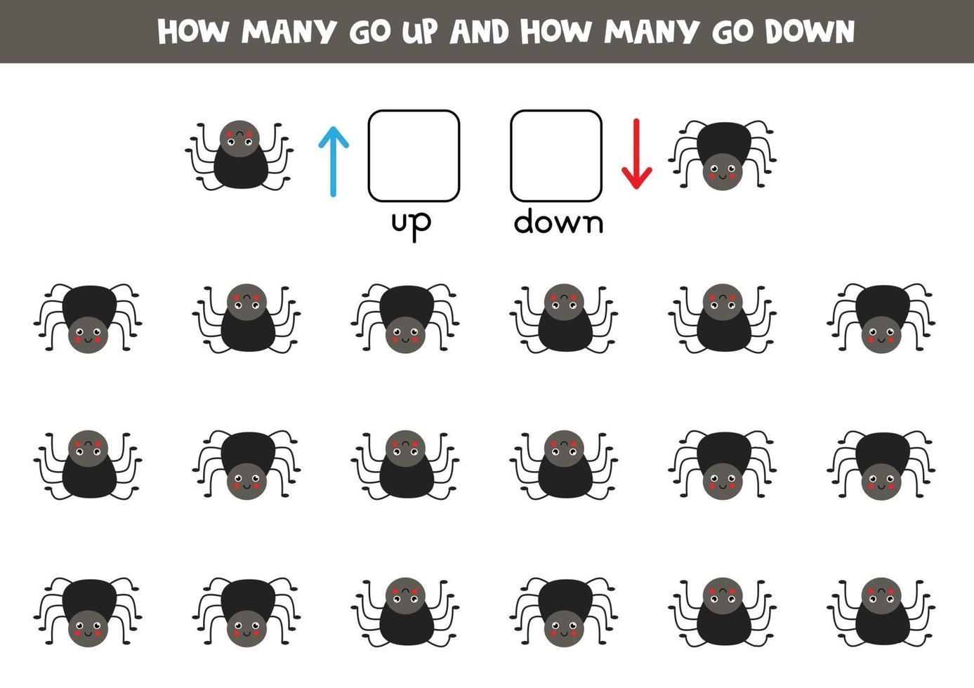 esquerda ou direita com aranha fofa. planilha lógica para pré-escolares. vetor