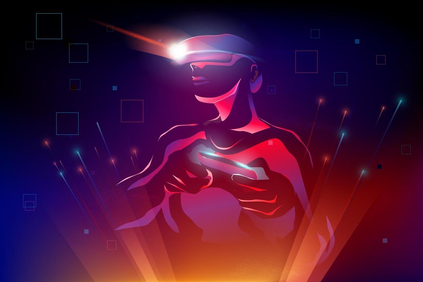 silhueta de homem usando dispositivo de realidade virtual vr jogando jogo, movimento de movimento no mundo 3d digital abstrato, ilustração vetorial vetor