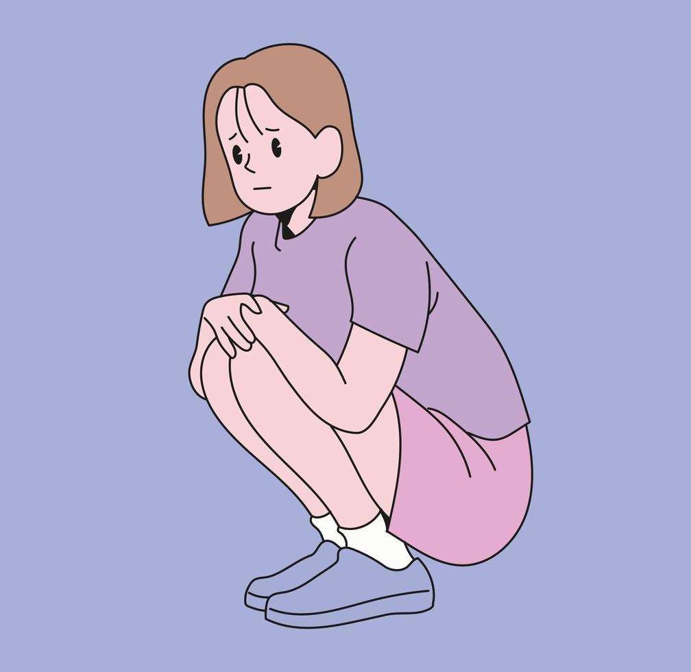 uma garota está sentada vetor