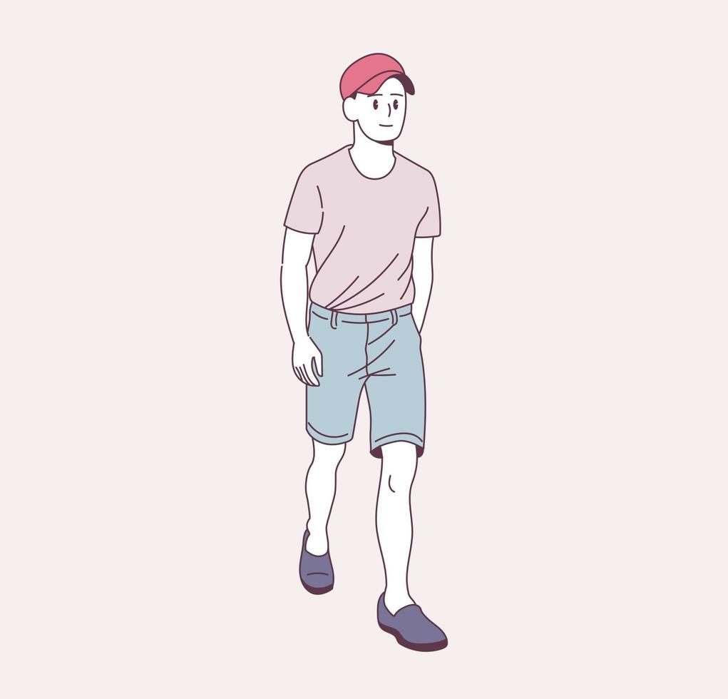 menino estiloso está caminhando vetor
