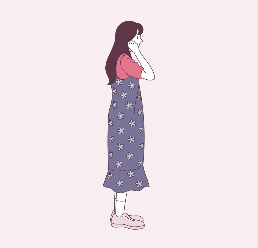 uma garota estilosa está de pé vetor