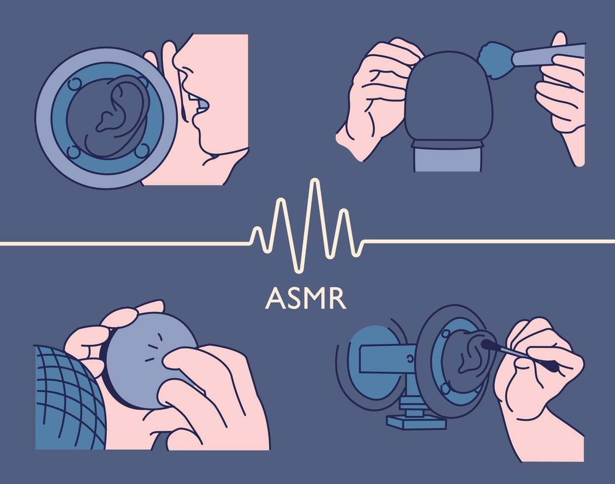 coleção de som asmr vetor