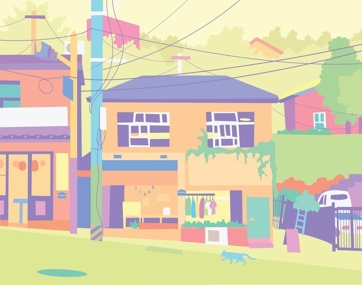 rua e fundo de casa vetor