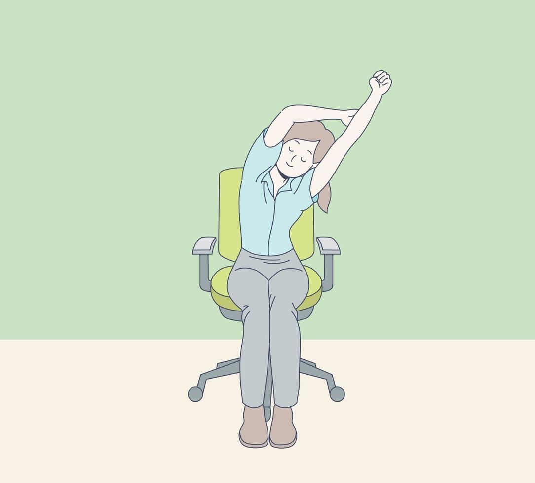 uma mulher de escritório está se alongando vetor