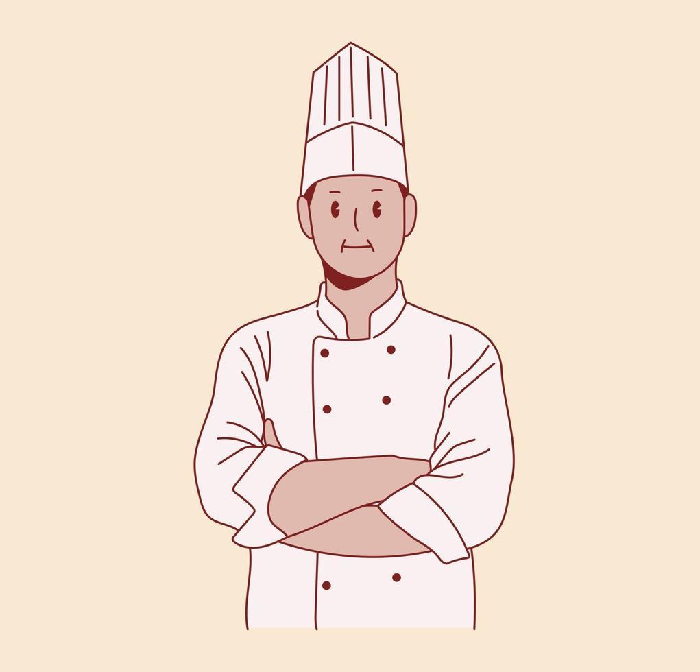 um chef masculino posa com confiança. mão desenhada estilo ilustração de design vetorial. vetor
