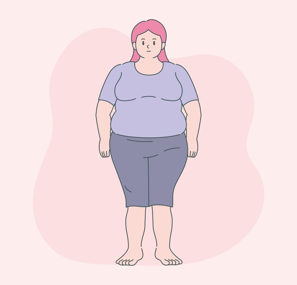 uma mulher gorda está de pé. mão desenhada estilo ilustrações vetoriais. vetor