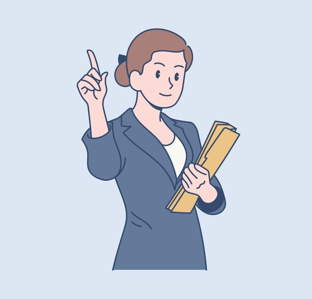 uma trabalhadora de escritório tem uma expressão confiante. mão desenhada estilo ilustrações vetoriais. vetor