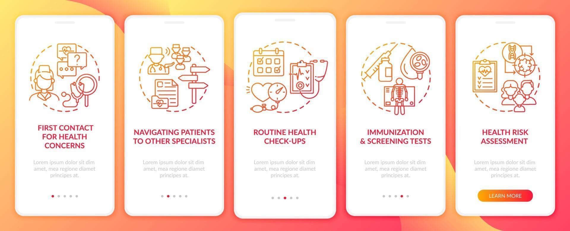 médico de família tarefas tela vermelha da página do aplicativo móvel com conceitos vetor