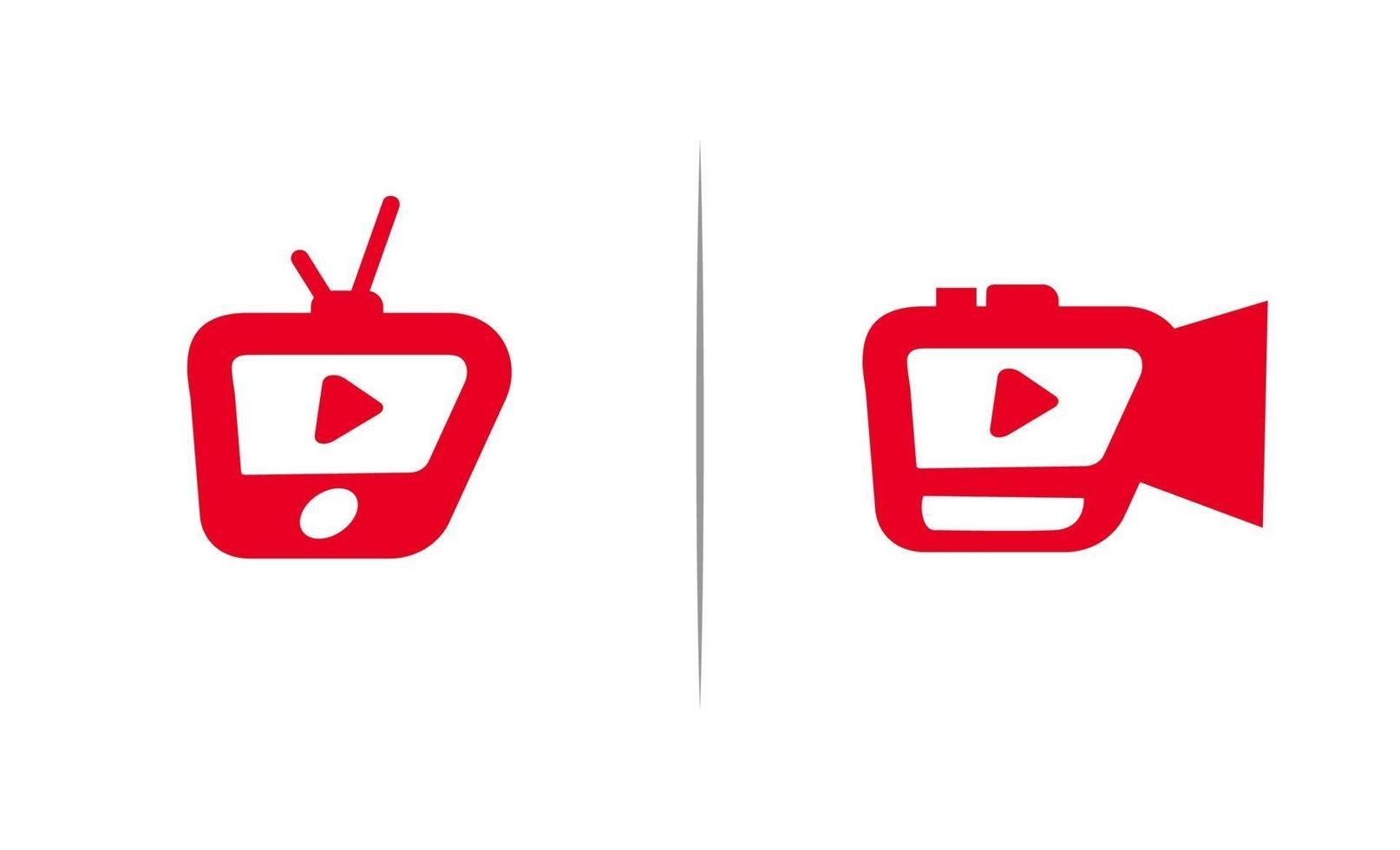 vetor de modelo de design de ícone de logotipo de reprodução de vídeo